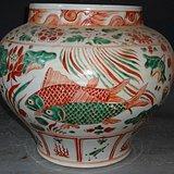 红绿彩鱼纹大罐