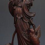 清晚民初精雕 侍女木雕塑像摆件