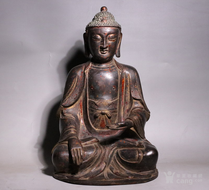 清代 释迦牟尼紫铜佛像图1