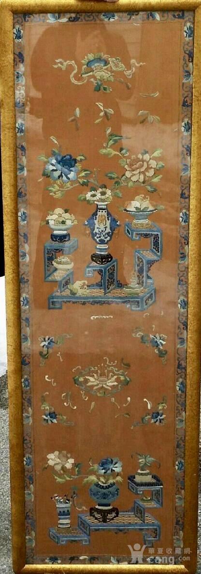 清代 博古 精品 绣品 一件。图1