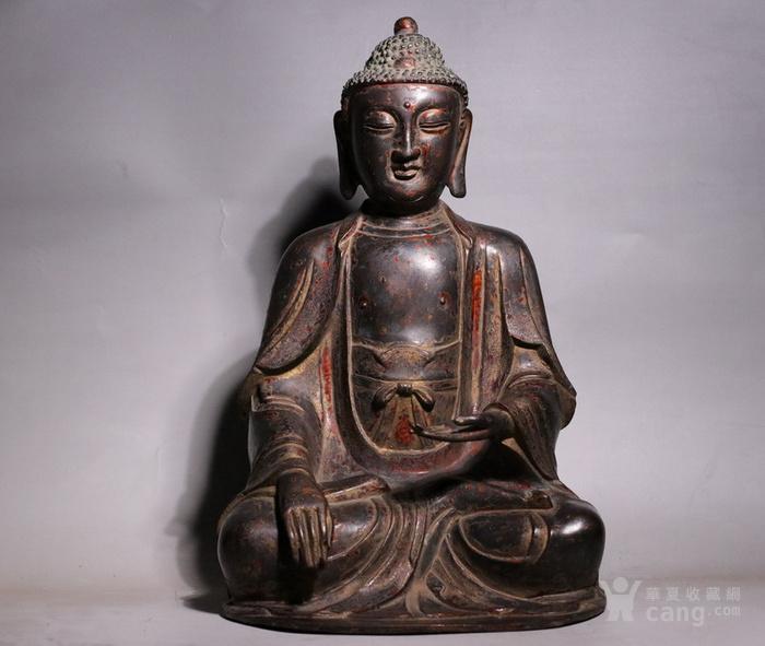 清代 释迦牟尼紫铜佛像图2