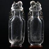 清中期 水晶 雕 山水人物 桃形 双耳 对瓶。