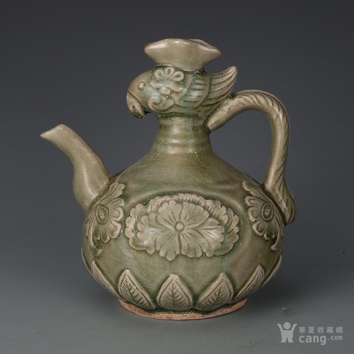 宋  耀州窑青瓷鸡头壶图1