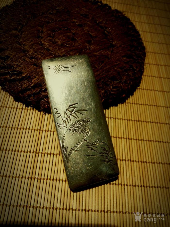 542 日本雕刻小银盒 纯银制做名手工刻图2