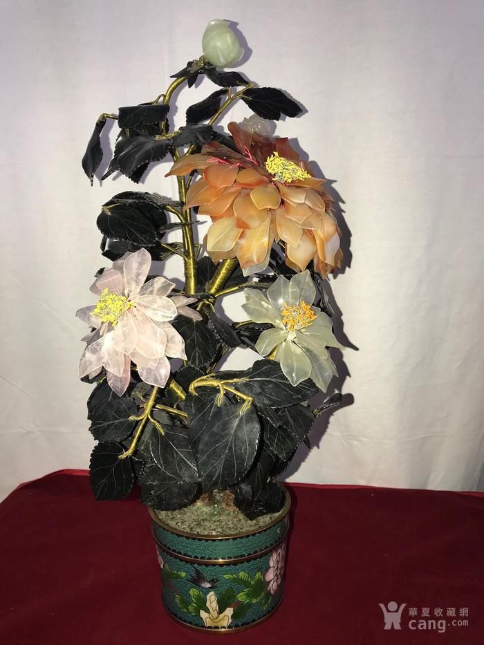 景泰蓝盆玉石树花盆景图1