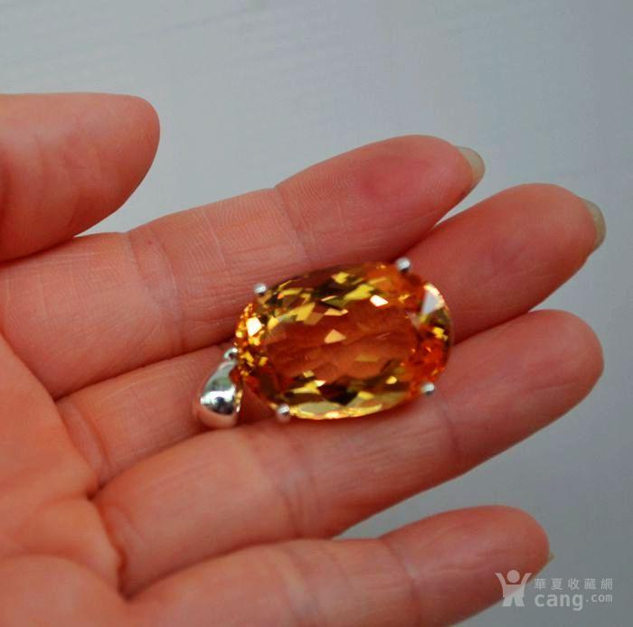 黄水晶吊坠 33.66克拉纯天然黄水晶925银吊坠图1