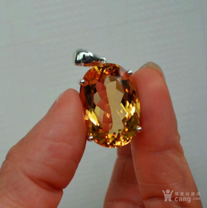 黄水晶吊坠 33.66克拉纯天然黄水晶925银吊坠图4