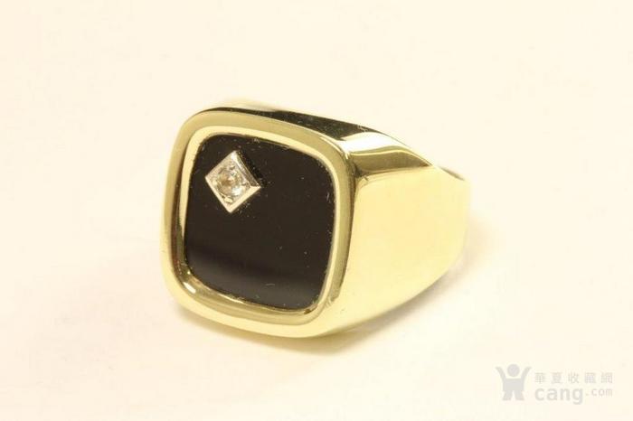 欧洲男士老首饰 黑缟玛瑙8K大戒指配锆石7g 绅士风范白领层图1