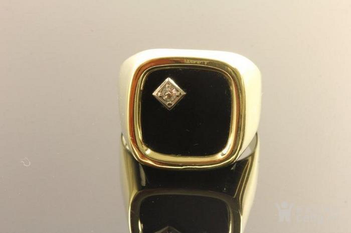 欧洲男士老首饰 黑缟玛瑙8K大戒指配锆石7g 绅士风范白领层图2