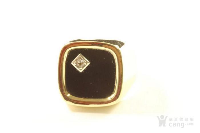 欧洲男士老首饰 黑缟玛瑙8K大戒指配锆石7g 绅士风范白领层图3