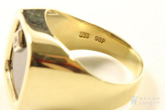欧洲男士老首饰 黑缟玛瑙8K大戒指配锆石7g 绅士风范白领层图4