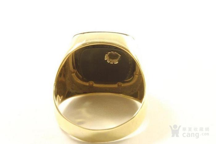 欧洲男士老首饰 黑缟玛瑙8K大戒指配锆石7g 绅士风范白领层图5