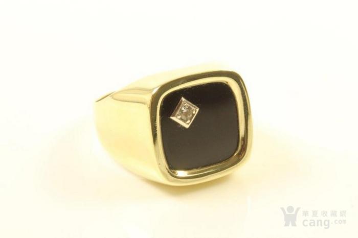欧洲男士老首饰 黑缟玛瑙8K大戒指配锆石7g 绅士风范白领层图7