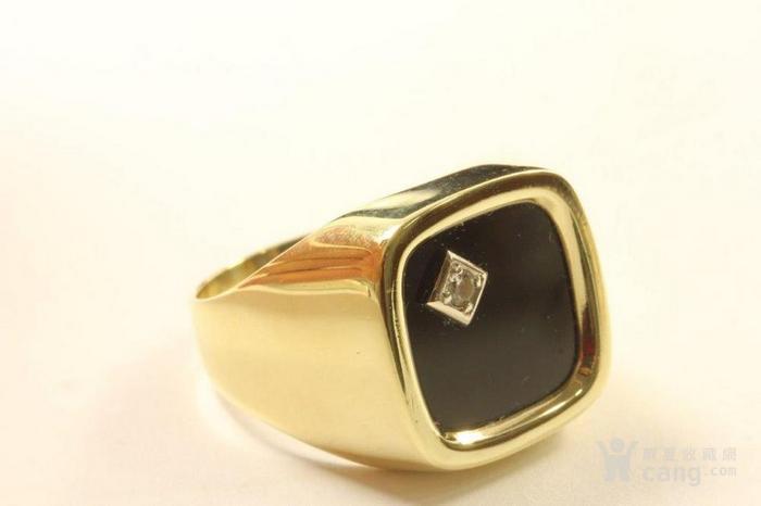 欧洲男士老首饰 黑缟玛瑙8K大戒指配锆石7g 绅士风范白领层图6
