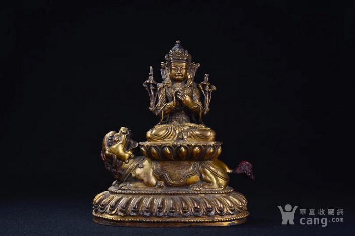 明  铜鎏金文殊菩萨图1