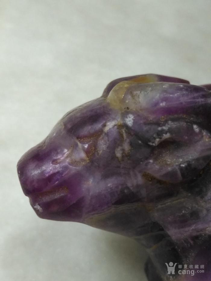 老紫水晶鹿型小摆件图10