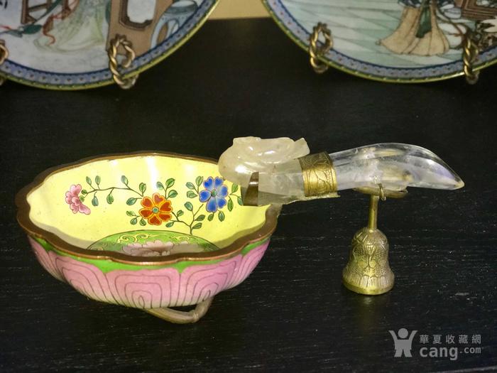 水晶龙钩,铜胎珐琅碗组合图8