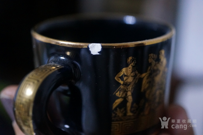 希腊24k纯金手绘人物故事咖啡杯盘图5