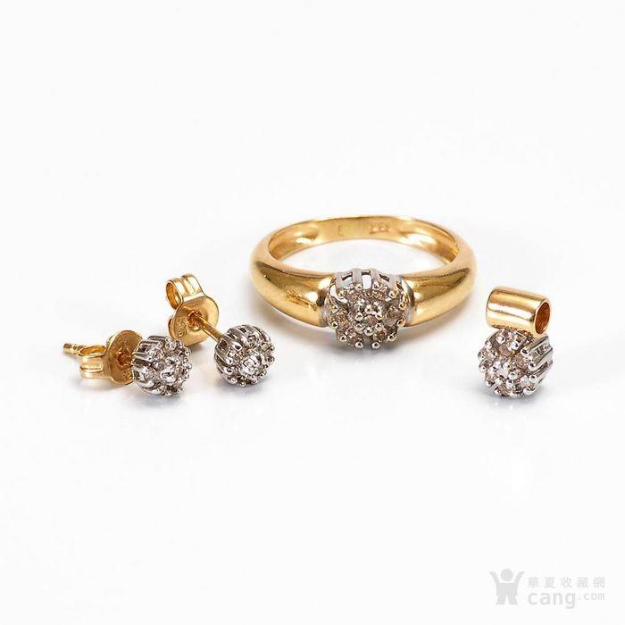 欧洲德国老珠宝首饰钻石14K金吊坠戒指耳环4件套装休闲配饰图1