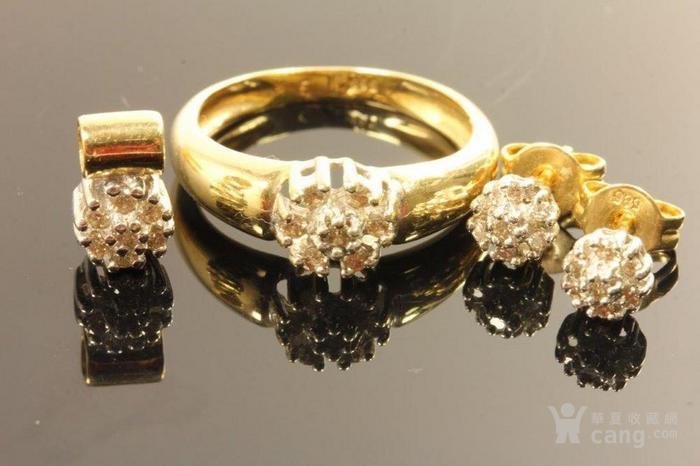 欧洲德国老珠宝首饰钻石14K金吊坠戒指耳环4件套装休闲配饰图2