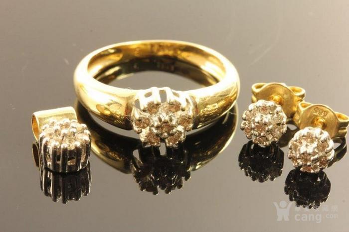 欧洲德国老珠宝首饰钻石14K金吊坠戒指耳环4件套装休闲配饰图3