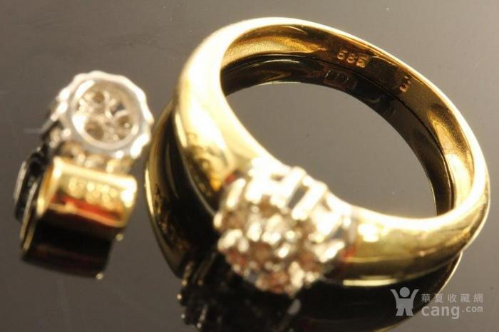 欧洲德国老珠宝首饰钻石14K金吊坠戒指耳环4件套装休闲配饰图4