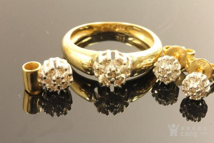 欧洲德国老珠宝首饰钻石14K金吊坠戒指耳环4件套装休闲配饰图5