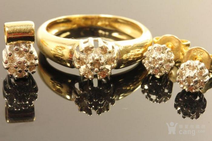 欧洲德国老珠宝首饰钻石14K金吊坠戒指耳环4件套装休闲配饰图6