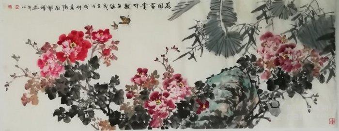 甘肃美协杨朝晖  183 小六尺花鸟牡丹图1