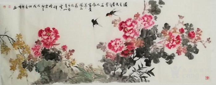 甘肃美协杨朝晖  183 小六尺花鸟牡丹图6