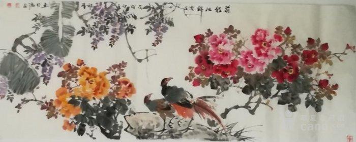 甘肃美协杨朝晖  183 小六尺花鸟牡丹图2