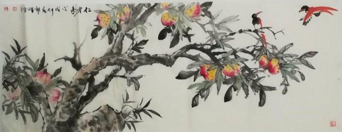 甘肃美协杨朝晖  183 小六尺花鸟牡丹图5
