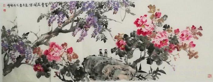 甘肃美协杨朝晖  183 小六尺花鸟牡丹图4
