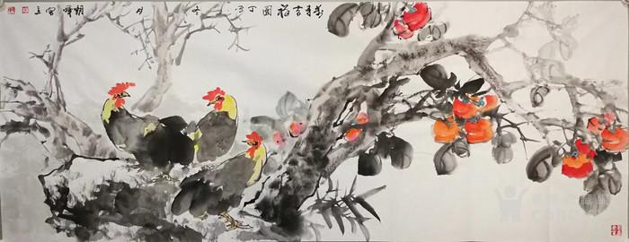 甘肃美协杨朝晖  183 小六尺花鸟牡丹图8