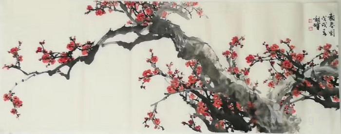 甘肃美协杨朝晖  183 小六尺花鸟牡丹图10