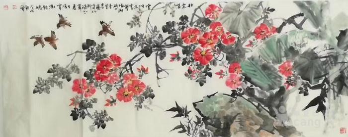甘肃美协杨朝晖  183 小六尺花鸟牡丹图12