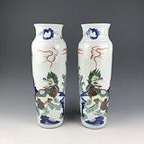 清代 青花五彩麒麟芭蕉纹筒瓶