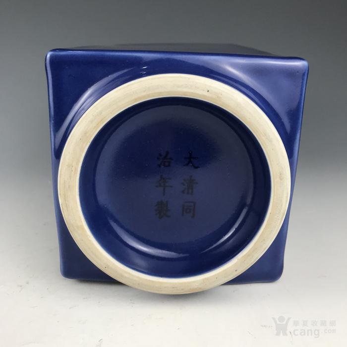 清代 霁蓝象耳方尊图7