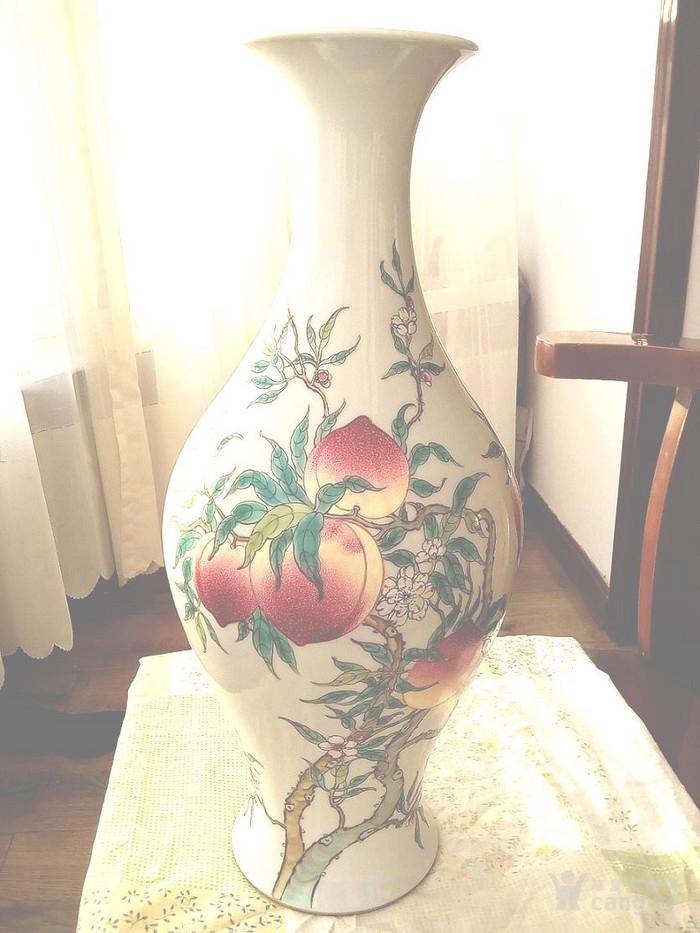 大清雍正年制款法郎彩九桃橄榄瓶图1