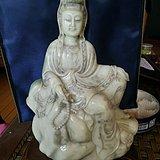 寿山白芙蓉石  自在观音坐像大摆件3800克