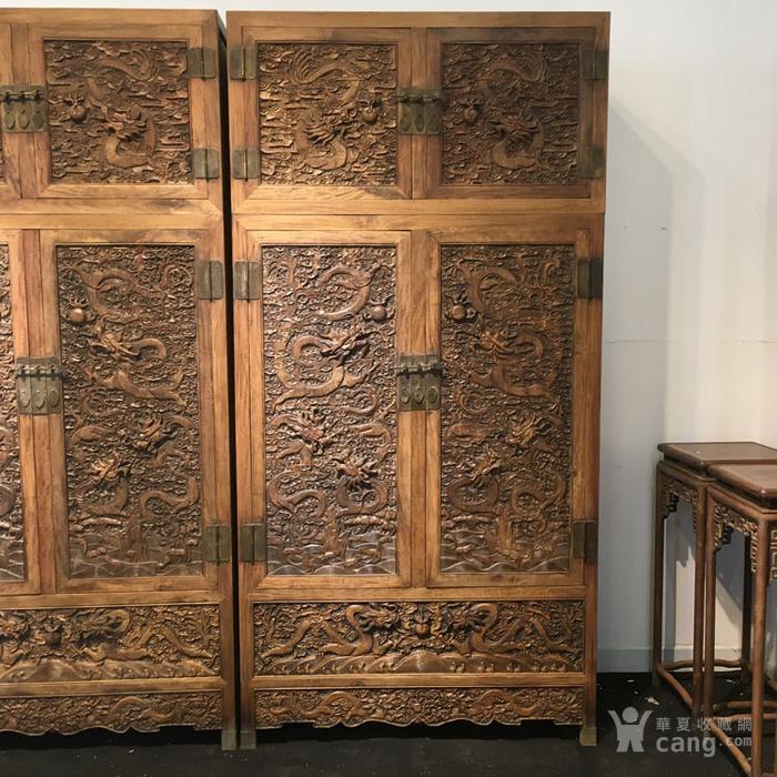 清代满工雕刻高浮雕龙纹大顶箱柜明清家具老黄花梨图3