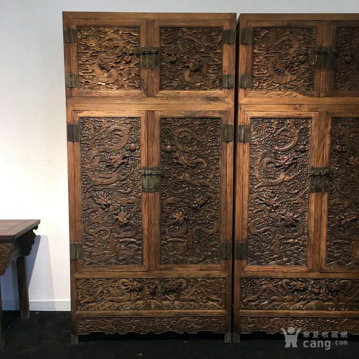 清代满工雕刻高浮雕龙纹大顶箱柜明清家具老黄花梨图2