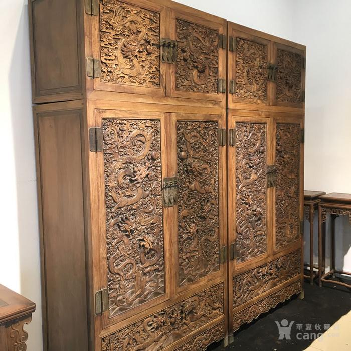 清代满工雕刻高浮雕龙纹大顶箱柜明清家具老黄花梨图4