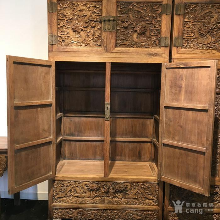 清代满工雕刻高浮雕龙纹大顶箱柜明清家具老黄花梨图12