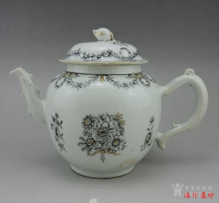 清代 雍正 乾隆 墨彩描金花卉纹 大号 茶壶图1