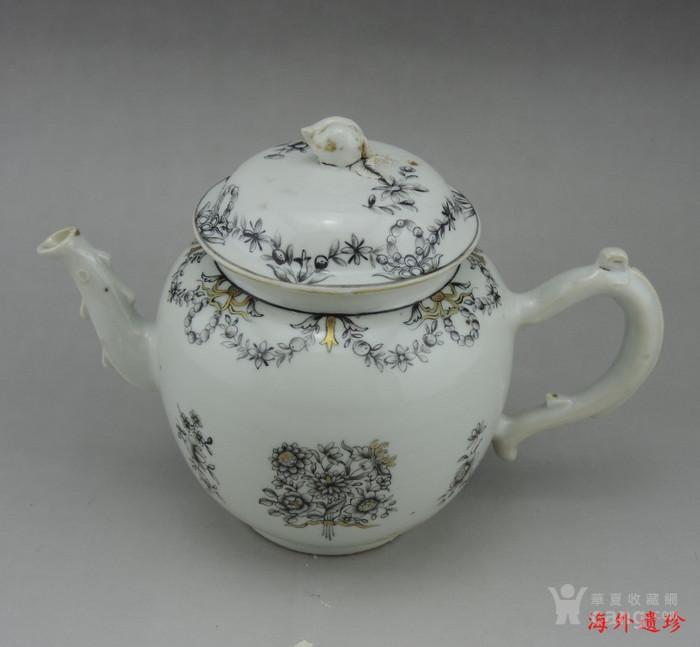 清代 雍正 乾隆 墨彩描金花卉纹 大号 茶壶图12