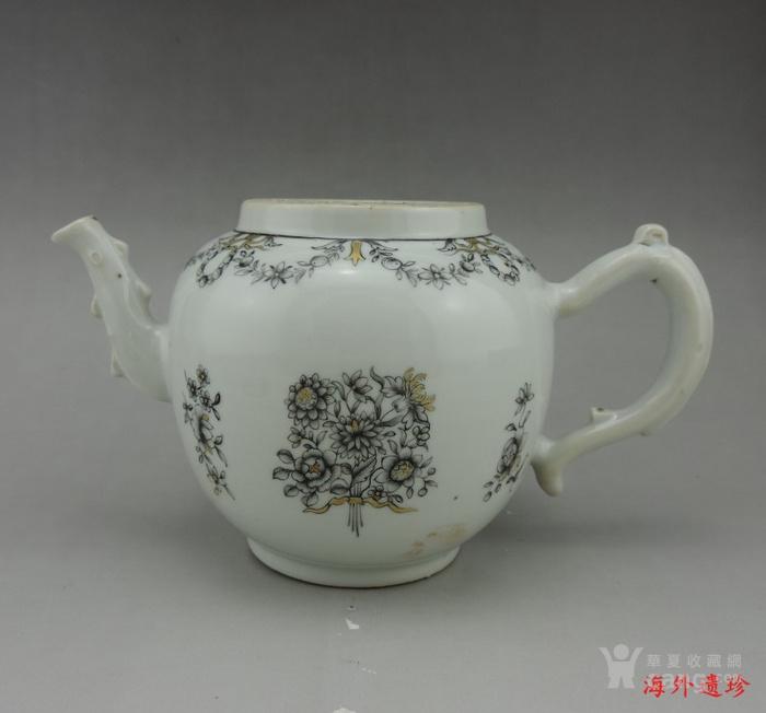清代 雍正 乾隆 墨彩描金花卉纹 大号 茶壶图2