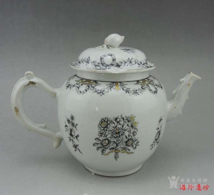 清代 雍正 乾隆 墨彩描金花卉纹 大号 茶壶图3