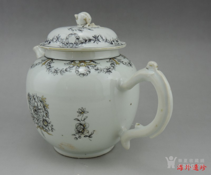 清代 雍正 乾隆 墨彩描金花卉纹 大号 茶壶图4