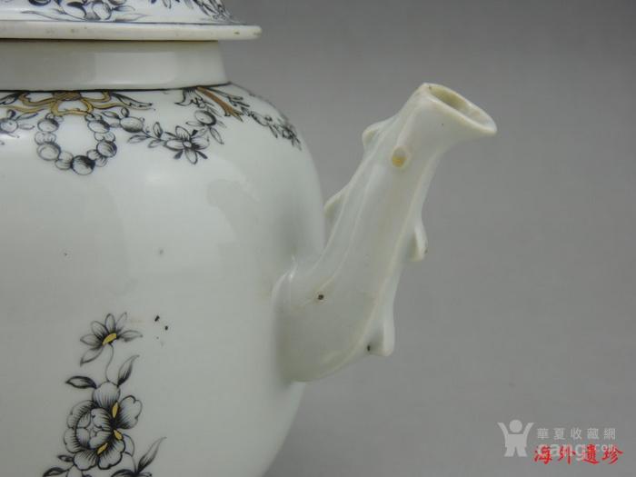 清代 雍正 乾隆 墨彩描金花卉纹 大号 茶壶图5